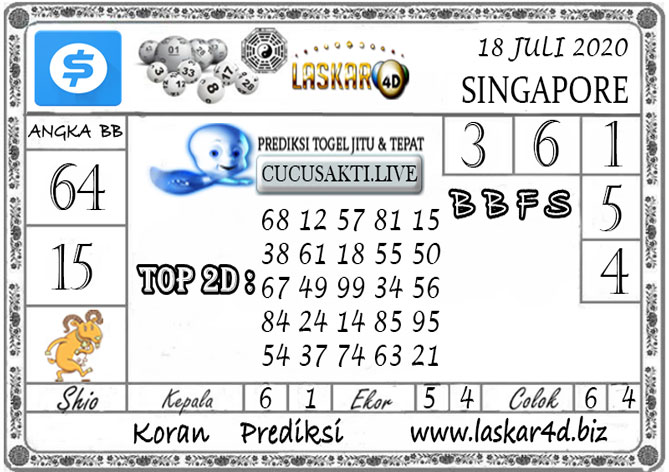 Prediksi Togel SINGAPORE LASKAR4D 18 JULI 2020