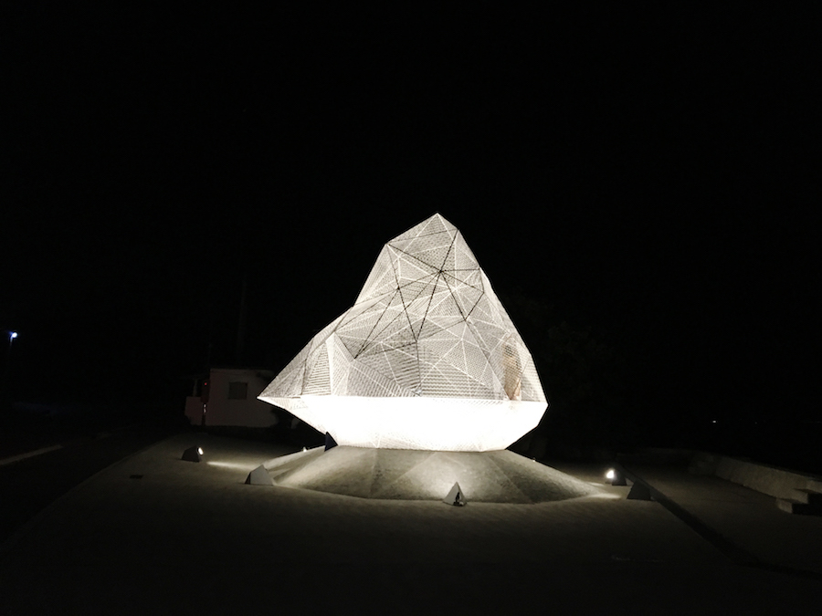 A lit-up outdoor installation on Miyanoura on Naoshima Island Japan