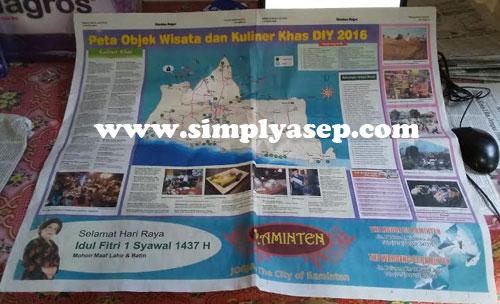 PETA :  Edisi spesial Kedaulatan Rakyat (KR) tanggal 4 Juli memuat peta obye wisata dan kuliner khas Jogya 2016.  Excellent idea. Foto Asep Haryono