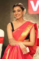 Kajal Aggarwal in Red Saree Sleeveless Black Blouse Choli at Santosham awards 2017 curtain raiser press meet 02.08.2017 080.JPG