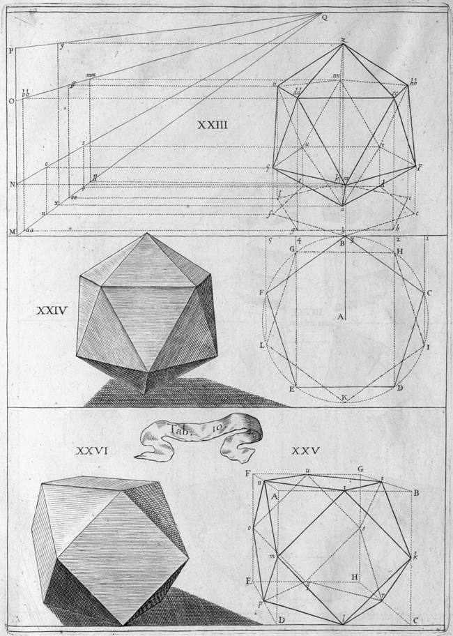 17th cent. sketches of polygonal solids and geometric line drawing projections