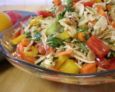 Holy Slaw ♥ KitchenParade.com, a potluck favorite, crunchy vegetables in a peanut and ginger dressing.