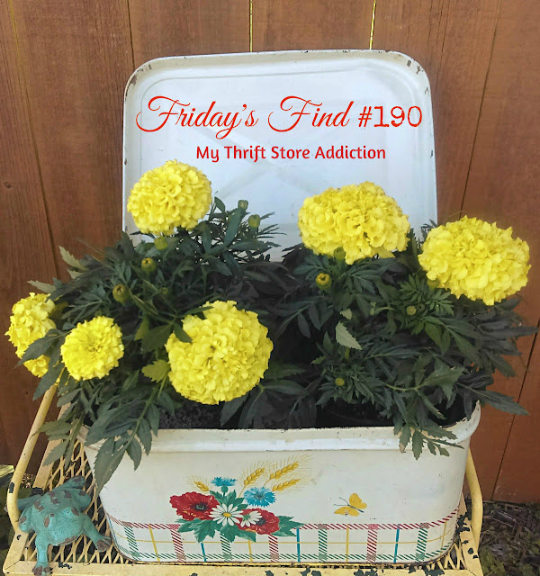 yard sale repurposed vintage bread box planter