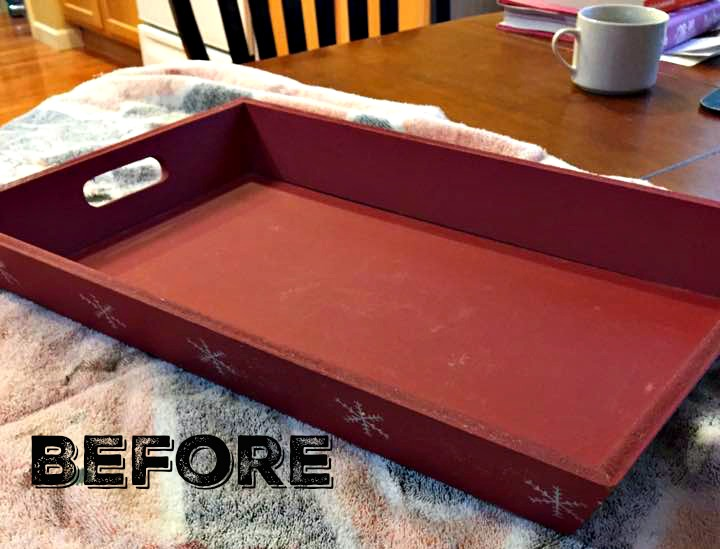 Red Christmas tray ready for a makeover