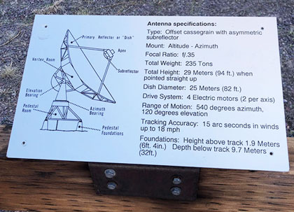 Plaque near antenna platform lists some of the VLA antenna specifications