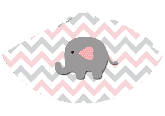 Gorros para imprimir gratis de Elefante Bebé en Rosado y Gris.