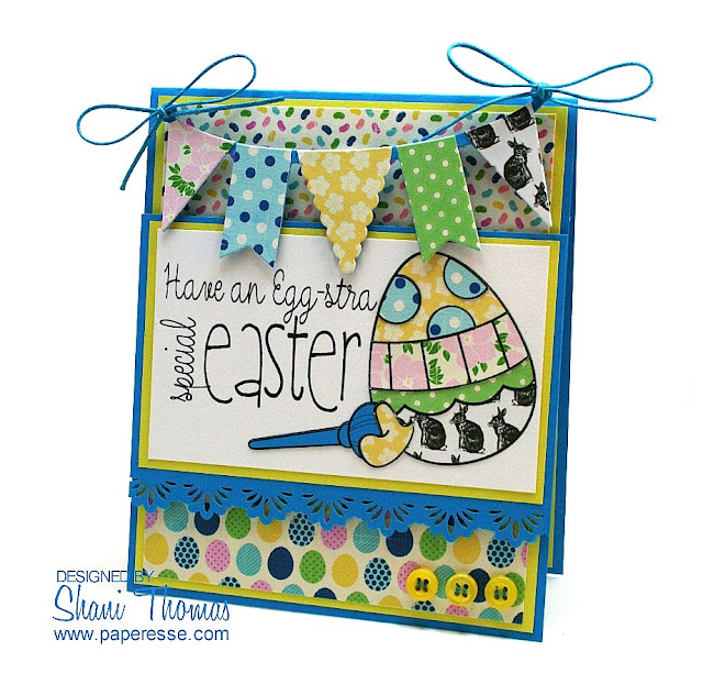 Special Easter Whimsie Doodles digital stamp Easter card, by Paperesse.