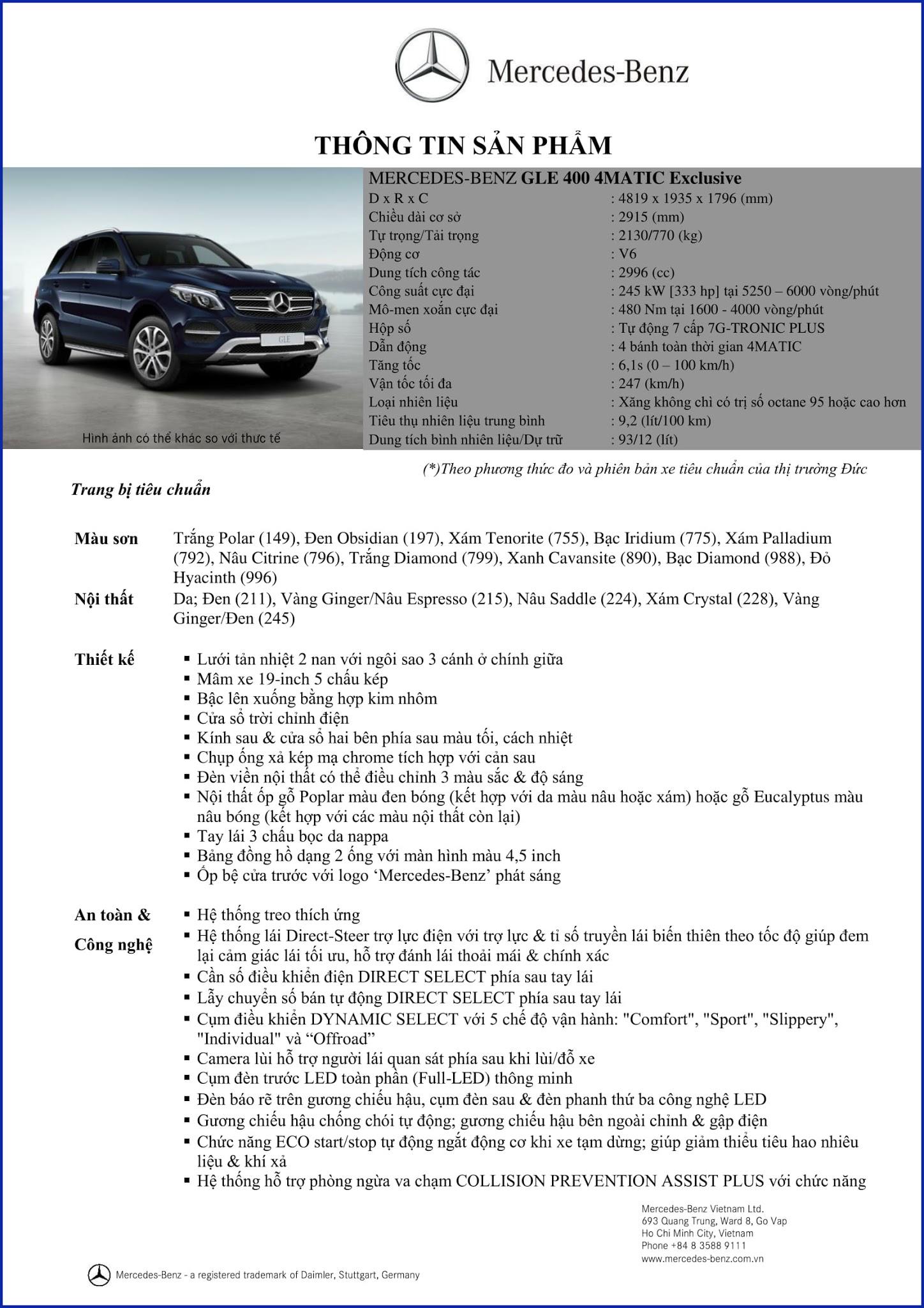 Bảng thông số kỹ thuật Mercedes GLE 400 4MATIC Exclusive 2018 tại Mercedes Trường Chinh