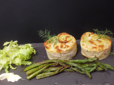 Receta de pastelitos de patatas con bacon, champiñones y queso