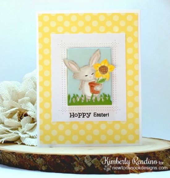 Hoppy Easter Card by Kimberly Rendino | Garden Whimsy Stamp Set by Newton's Nook Designs #newtonsnook #bunny