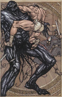Beowulf (Gareth Hinds) - Beowulf |Beowulf Fighting Grendel Drawing