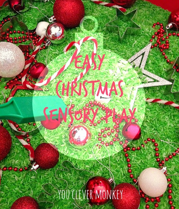 Easy Christmas Sensory Bin - how to make and play by you clever monkey