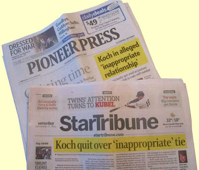 Pioneer Press headline Koch in alleged 'inappropriate relationship', Star Tribune headline Koch quit over 'inappropriate' tie