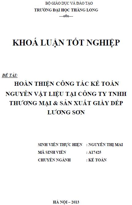 Hoàn thiện công tác kế toán nguyên vật liệu tại Công ty TNHH Thương mại và Sản xuất Giày Dép Lương Sơn