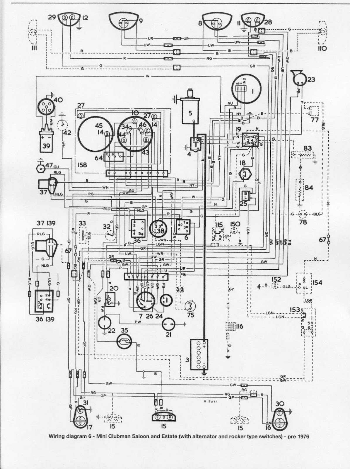 vista key wiring diagram mini clubman saloon and estate 1976 electrical wiring ...