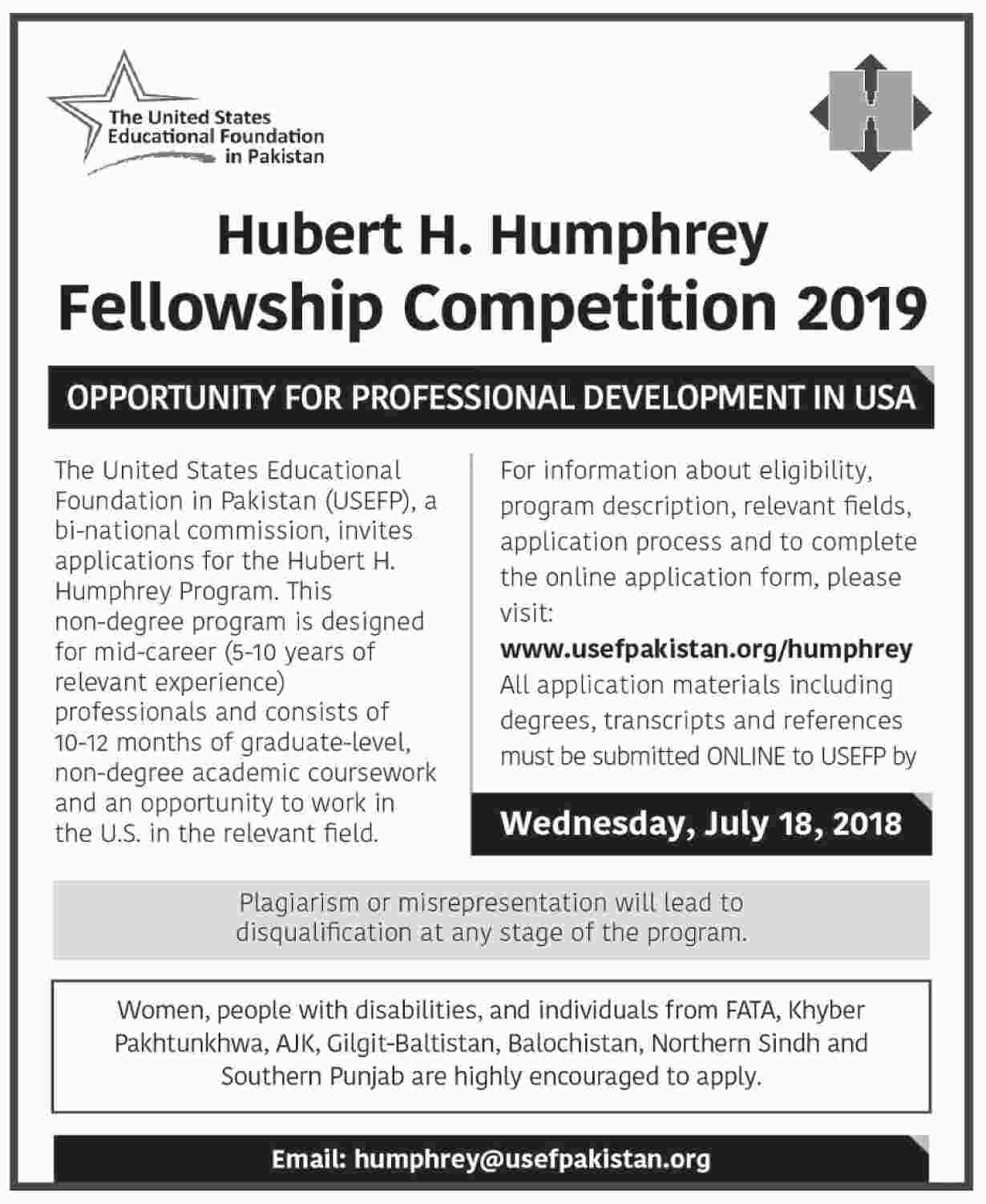 Hubert H. Humphrey Fellowship Competition 2019