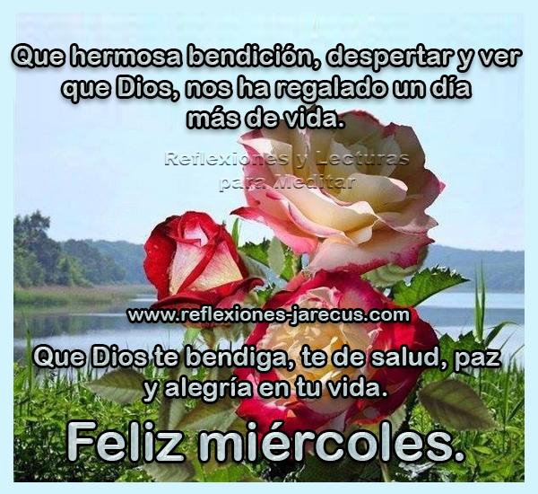 Que hermosa bendición, despertar y ver que Dios, nos ha regalado un día más de vida. Que Dios te bendiga, te de salud, paz y alegría en tu vida. Feliz miércoles