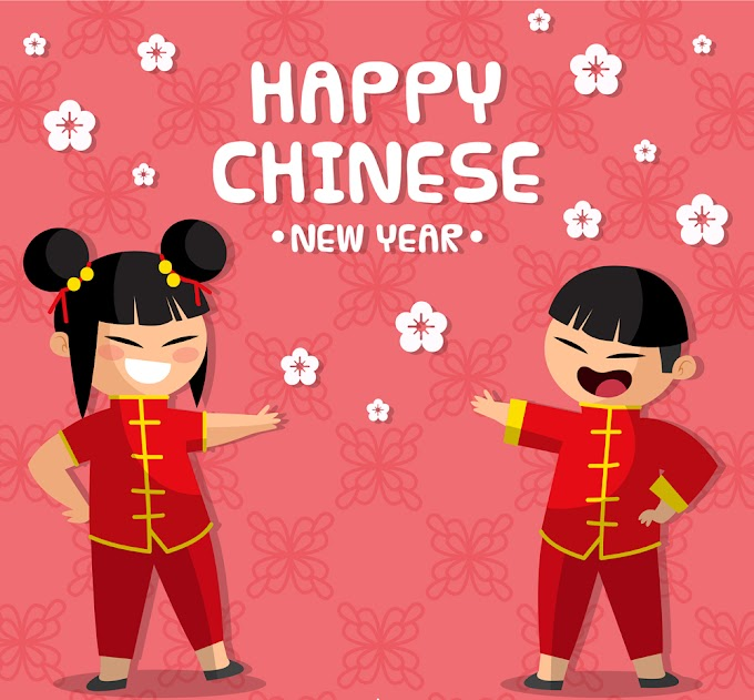 Happy Chinese New Year Creative spring festival boy and girl free vector