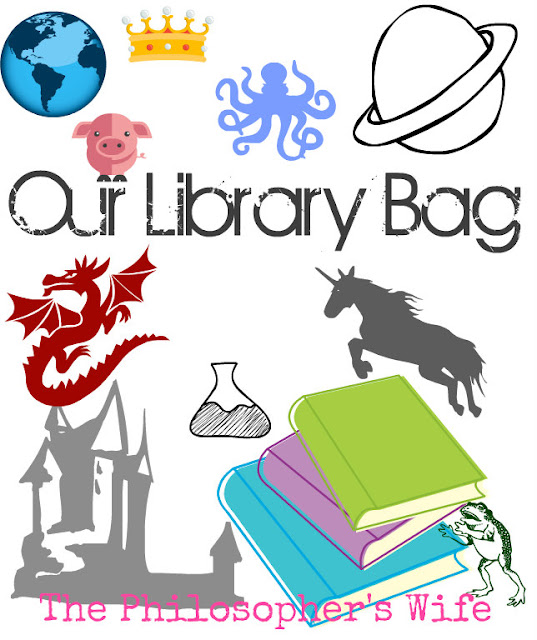 Graphic including books, dragon, castle, frog, the earth, and more.