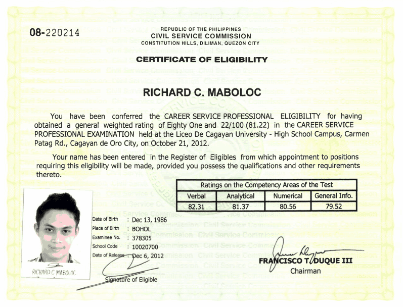 Certificate of Eligibility CSC