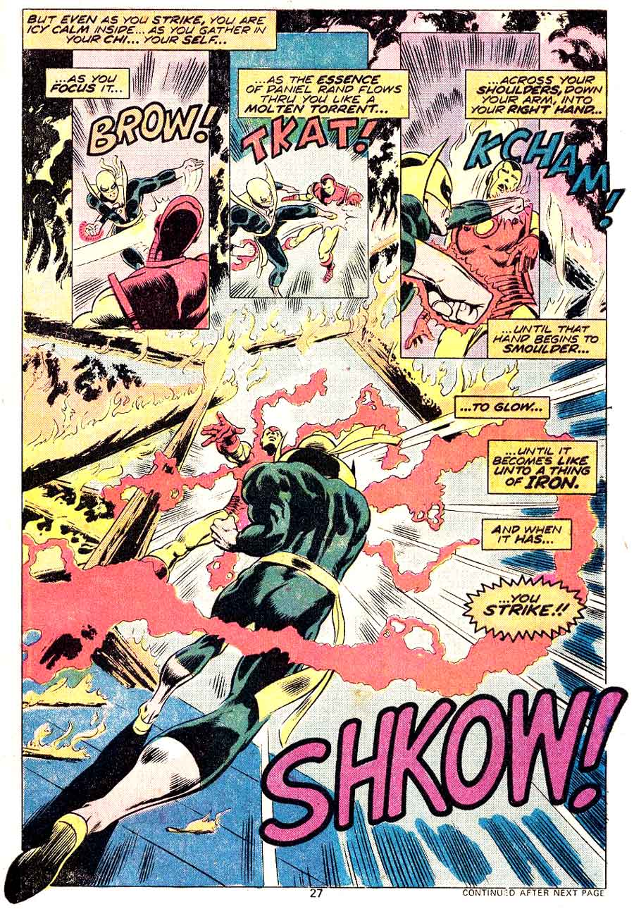 Iron Fist #1 bronze age 1970s marvel comic book page art by John Byrne