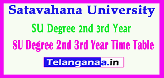 SU Degree 2nd  3rd Year Time Table Satavahana University Annual Exam 2018 Time Table