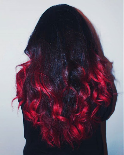 colour freedom crimson red on dark hair