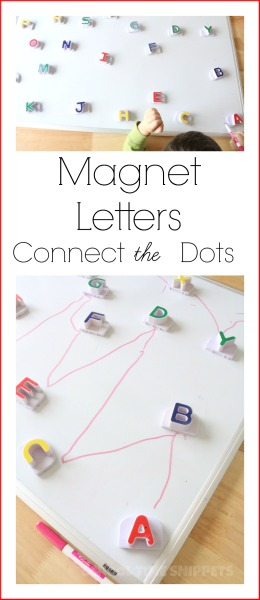 letter magnet alphabet activity on white board