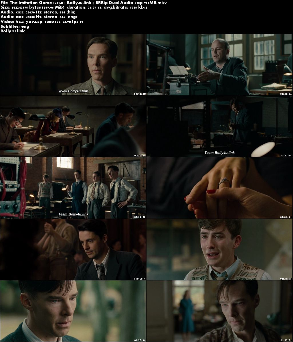 The Imitation Game 2014 BRRip 350MB Dual Audio 480p Download