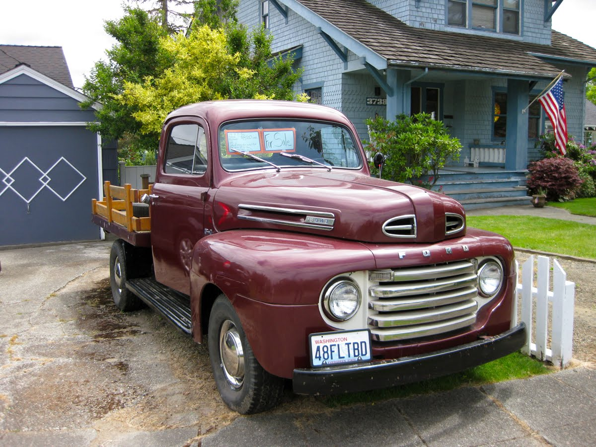 Old Parked Cars 1948 Ford F 1 Truck Flathead 6 July 4 2011