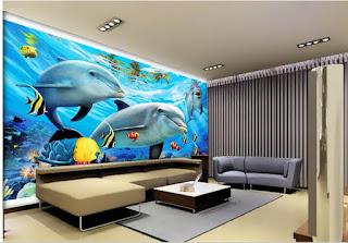 häftig tapet vardagsrum delfiner under vattnet 3d fototapet