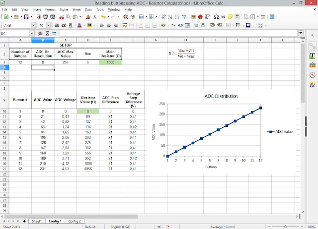 Spreadsheet for calculating resistors in ADC switch reading 2
