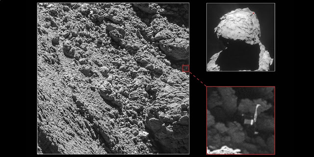 This series of photos shows exactly where Philae lnded on Comet 67P. Photo Credit: ESA