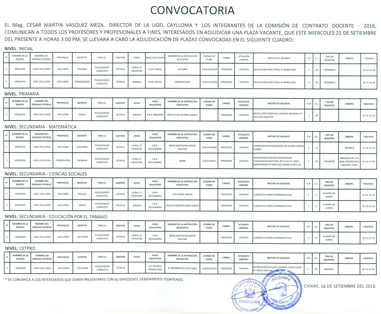 Convocatoria para plazas de contrato docente 2016 ugel for Sep convocatoria plazas 2016