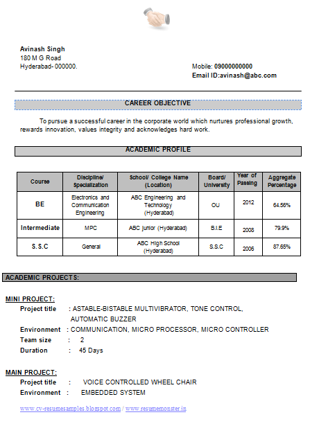 over 10000 cv and resume samples with free download  cv format for electronics and communication
