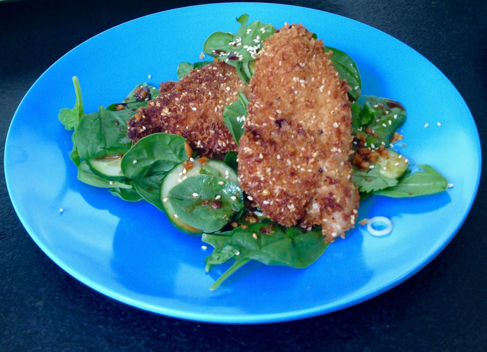 Sesame Chicken Salad with Spinach, Cucumber and Cilantro