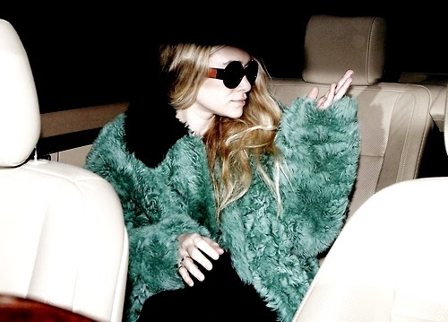 Mary Kate and Ashley Olsen twins green fur jacket
