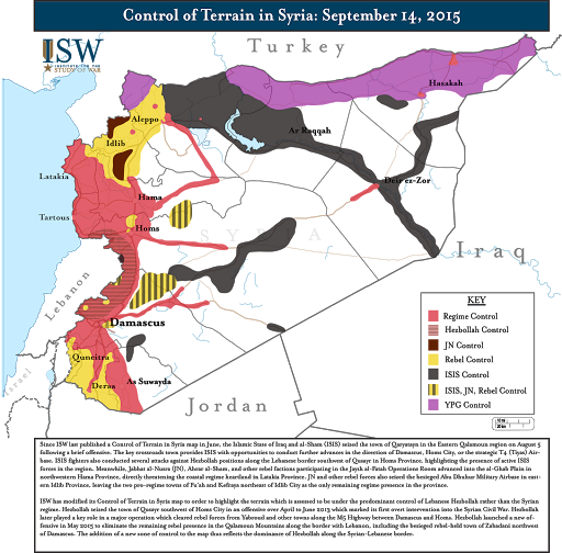 Control of Terrain in Syria: September 14, 2015