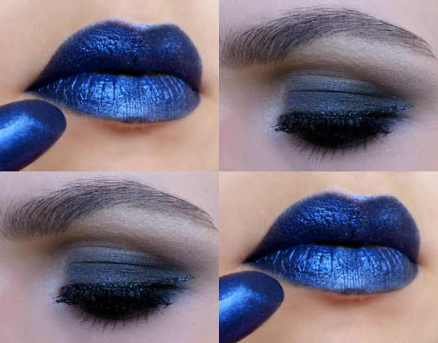 Maquiagem com Batom Azul Metálico