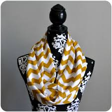 Mustard Scarf with White Stripes
