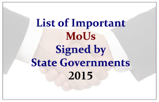 List of Important MoUs Signed by the State Governments in 2015