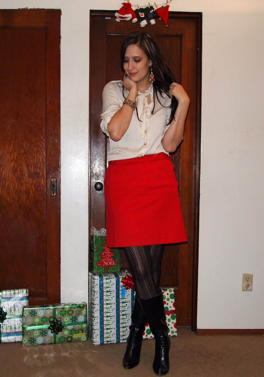 8c56877f152fd Top: Kohl's, Blazer: Maurices, Skirt: Clothes Mentor, Tights: Kohl's,  Boots: Elder Beerman,