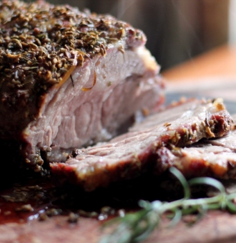 Fennel Seed and Rosemary Pork Roast Open-Faced Sandwich Jamie Oliver recipe with spices and herbs