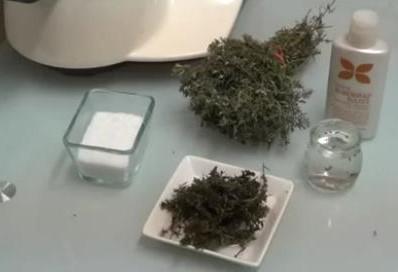 Ingredientes exfoliante de tomillo,sal,tomillo y aceite de almendras