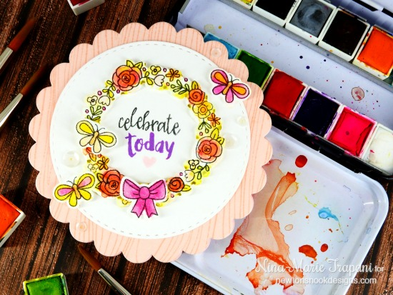 Celebrate Today Card by Nina-Marie Trapani | Happy Little Thoughts stamp set by Newton's Nook Designs #newtonsnook