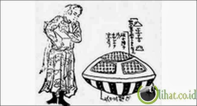 Lukisan Jepang Dengan UFO - 1803