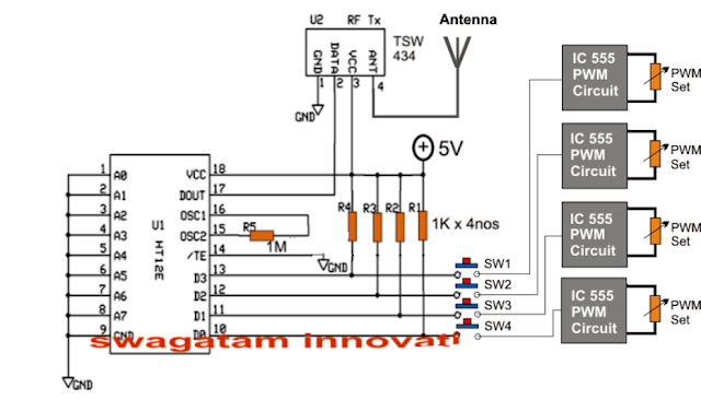 how the simple RF transmitter needs to be created and wired with PWM circuits