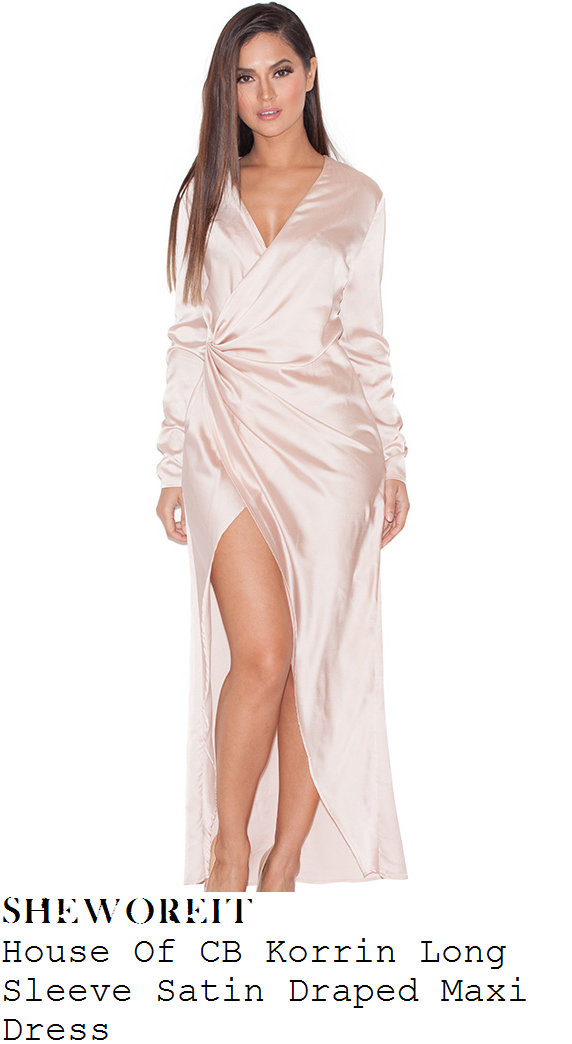 b9718014bd95 Chloe Sims' House Of CB Korrin Champagne Cream Long Sleeve Plunge Front  Draped Gathered Satin Maxi Dress With Thigh High Split To Front