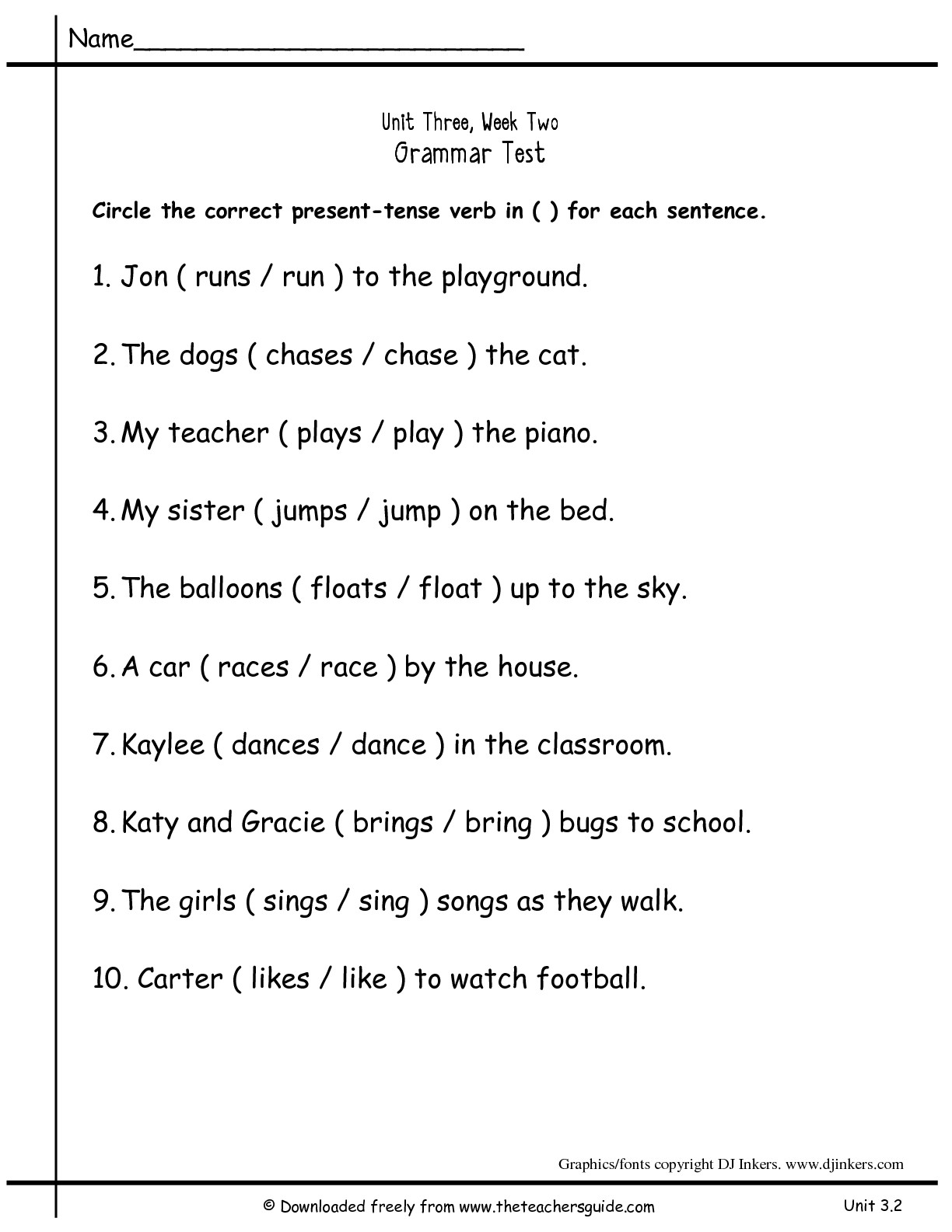 The City School English Grade 3 Revision Worksheets
