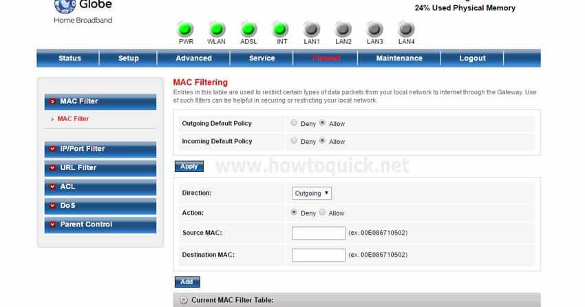 Wifi Service Plans >> Globe DSL Prolink Router/Modem MAC Filtering - Allow and ...